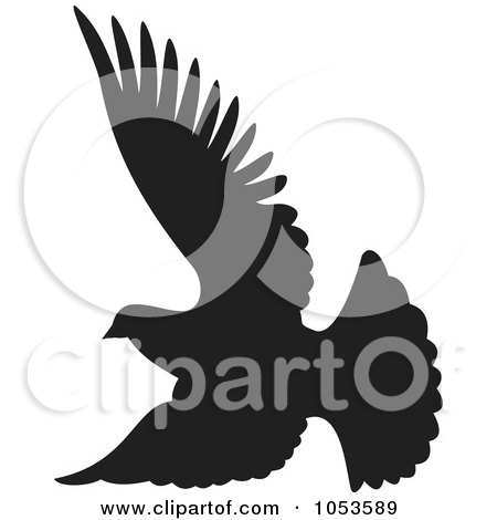 Royalty-Free Vector Clip Art Illustration of a Black Silhouetted Dove In Flight by Any Vector