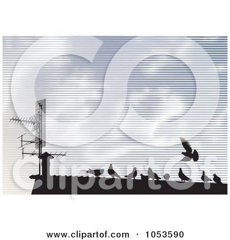 Royalty-Free Vector Clip Art Illustration of Silhouetted Pigeons On A Roof Top Against A Lined Sky by Any Vector