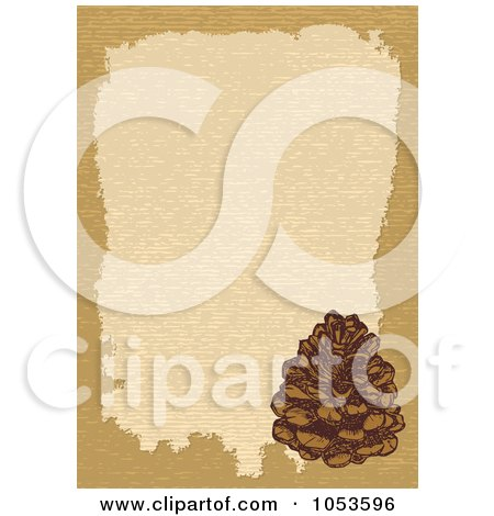 Royalty-Free Vector Clip Art Illustration of a Tan Border Around Beige With A Pinecone by Any Vector