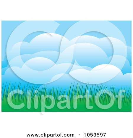Royalty-Free Vector Clip Art Illustration of Puffy Clouds And Green Grass by Any Vector