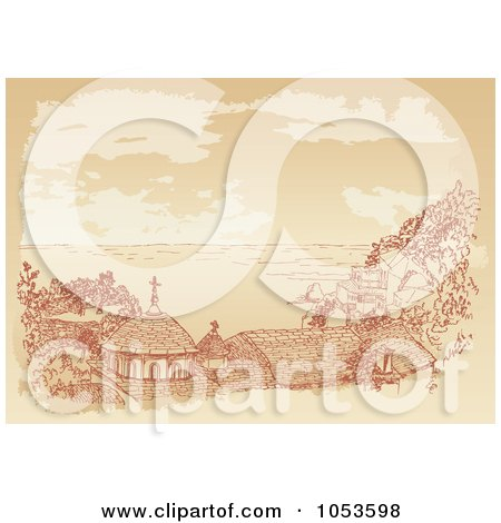 Royalty-Free Vector Clip Art Illustration of a Sepia Sketch Of A Chuch On The Coast, Kafsokalyvia by Any Vector