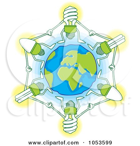 Royalty-Free Vector Clip Art Illustration of Light Bulbs Holding Hands Around Earth by Any Vector