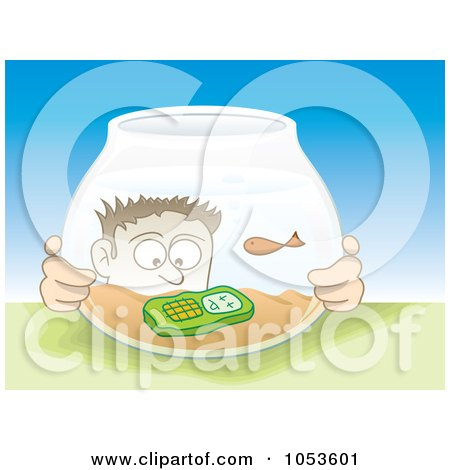 Royalty-Free Vector Clip Art Illustration of a Man Looking At His Cell Phone In A Fish Bowl by Any Vector