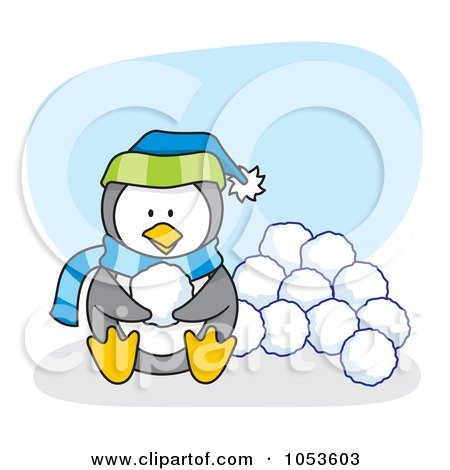 Royalty-Free Vector Clip Art Illustration of a Cartoon Penguin Sitting With Snow Balls by Any Vector