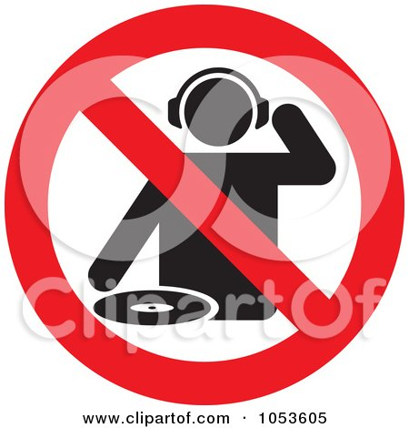 Royalty-Free Vector Clip Art Illustration of a No DJs Sign by Any Vector
