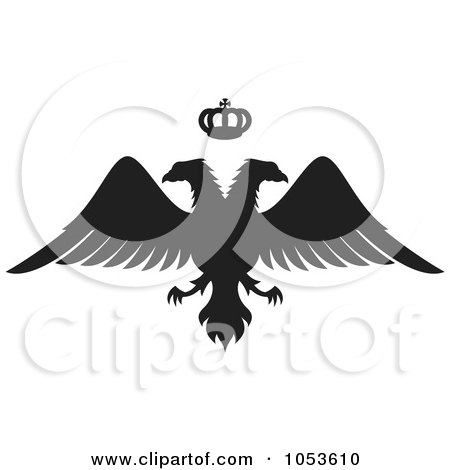 Royalty-Free Vector Clip Art Illustration of a Black Silhouetted Double Headed Eagle And Crown by Any Vector