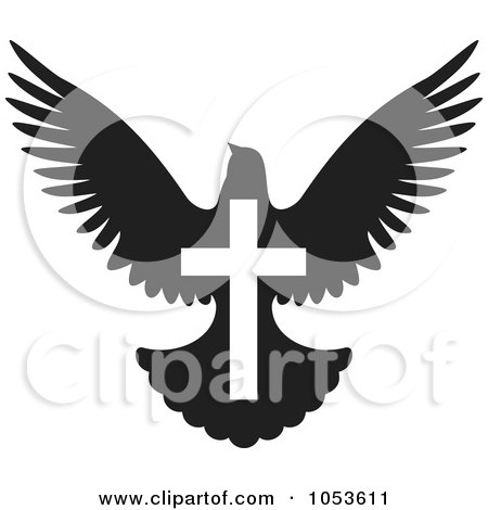 RoyaltyFree Vector Clip Art Illustration of a Black And White Dove With A