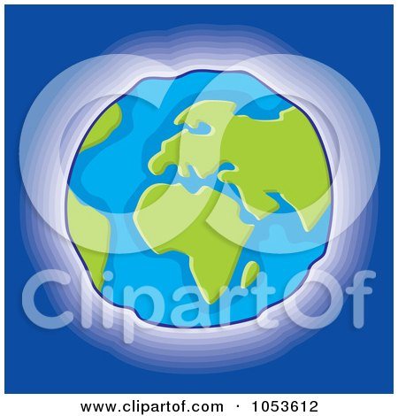 Royalty-Free Vector Clip Art Illustration of a Glowing Earth On Blue by Any Vector