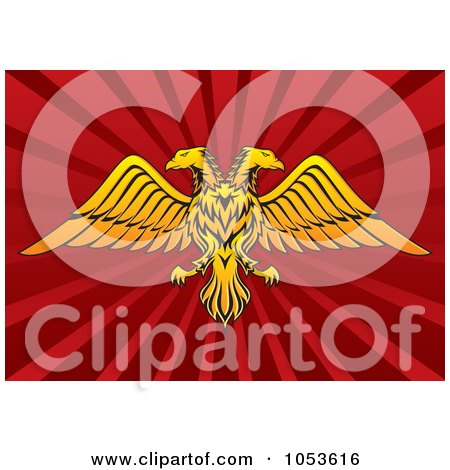 Royalty-Free Vector Clip Art Illustration of a Gold Double Headed Eagle On Red Rays by Any Vector
