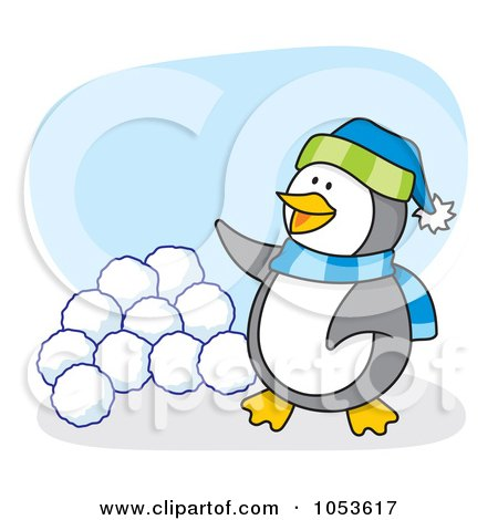 Royalty-Free Vector Clip Art Illustration of a Cartoon Penguin Standing By Snow Balls by Any Vector