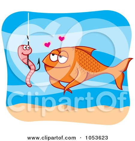 Royalty-Free Vector Clip Art Illustration of a Worm On A Hook And Fish In Love by Any Vector