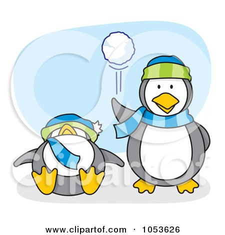 Royalty-Free Vector Clip Art Illustration of a Cartoon Penguin Throwing A Snow Ball by Any Vector