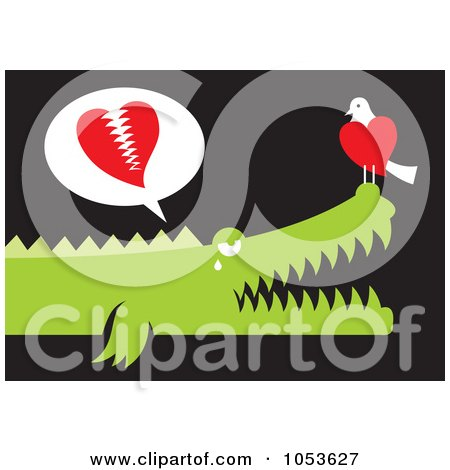 Royalty-Free Vector Clip Art Illustration of a Bird And Alligator In Love by Any Vector