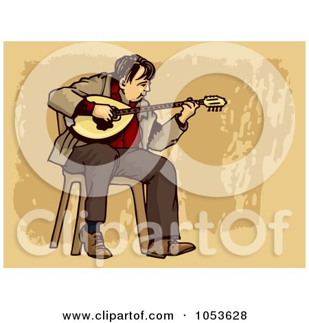 Royalty-Free Vector Clip Art Illustration of a Busker Playing A Bouzouki by Any Vector