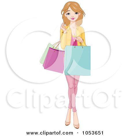 Royalty-Free Vector Clip Art Illustration of a Pretty Young Woman Holding Shopping Bags by Pushkin