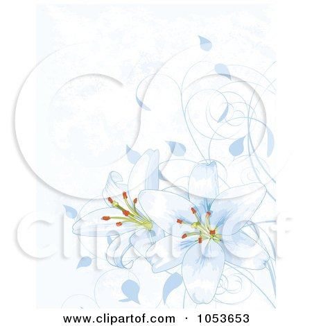 Royalty-Free Vector Clip Art Illustration of a Blue Easter Lily Background by Pushkin