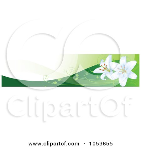 Royalty-Free Vector Clip Art Illustration of Easter Lilies On Hills Website Banner by Pushkin