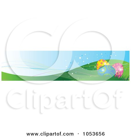 Royalty-Free Vector Clip Art Illustration of an Easter Egg On Hills Website Banner by Pushkin