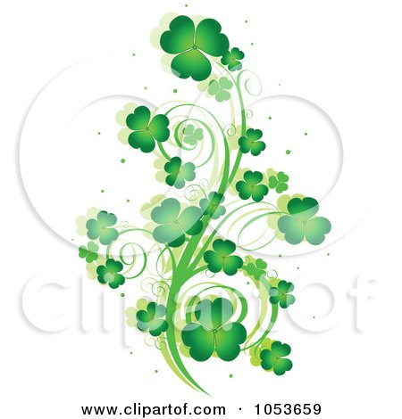 Royalty Free Vector Clip Art Illustration Of A Green St Patricks Day Shamrock Vine Design Element