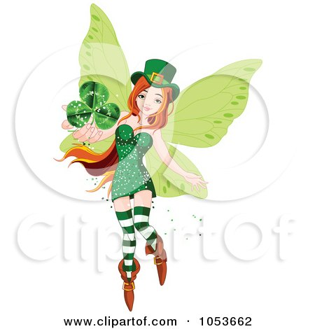 Royalty-Free Vector Clip Art Illustration of a Flying St Patricks Day Fairy Holding Out A Clover by Pushkin