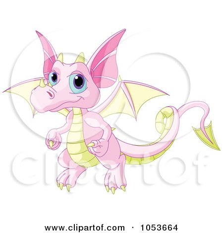 Royalty-Free Vector Clip Art Illustration of a Cute Pink And Yellow Baby Dragon by Pushkin