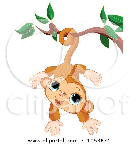 Royalty-Free Vector Clip Art Illustration of a Cute Monkey Hanging From A Branch by Pushkin