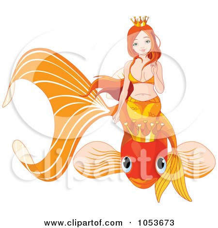 Royalty-Free Vector Clip Art Illustration of a Mermaid On An Orange Crowned Fish by Pushkin