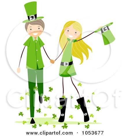 A Cartoon Two Girls Holding Hands  Royalty Free Clipart