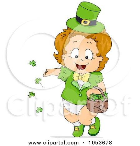 Royalty-Free Vector Clip Art Illustration of a Cute Leprechaun Toddler Girl Tossing Shamrocks by BNP Design Studio