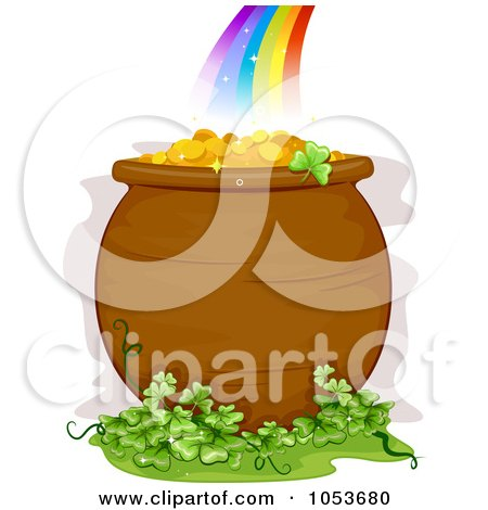 Royalty Free Vector Clip Art Illustration Of A Pot Of Gold And Clover Patch At The End Of A Rainbow