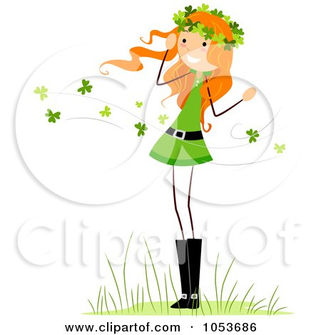 Royalty-Free Vector Clip Art Illustration of a St Patricks Day Stick Girl In A Clover Breeze by BNP Design Studio