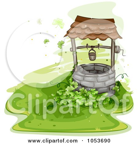 Royalty Free Vector Clip Art Illustration Of A Clover Patch Beside An Old Well