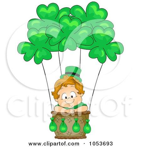 Royalty-Free Vector Clip Art Illustration of a Cute Leprechaun Toddler In A Hot Air Balloon by BNP Design Studio