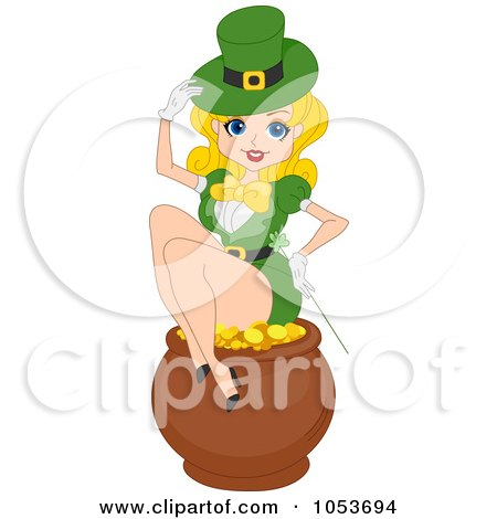 Royalty-Free Vector Clip Art Illustration of a Sexy St Patricks Day Pinup Woman Sitting On A Pot Of Gold by BNP Design Studio