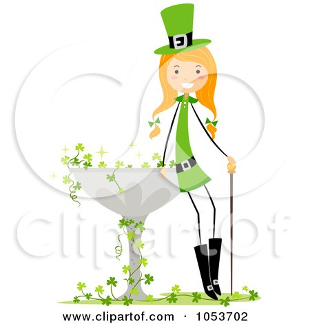 St Patricks Day Stick Girl Leaning Against A Bird Bath Posters, Art Prints