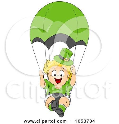 Royalty-Free Vector Clip Art Illustration of a Cute Leprechaun Toddler Parachuting by BNP Design Studio