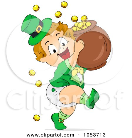 Royalty-Free Vector Clip Art Illustration of a Cute Leprechaun Toddler Carrying A Pot Of Gold by BNP Design Studio