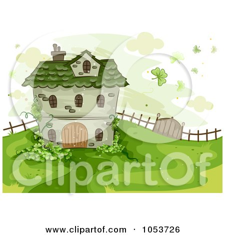 Royalty Free Vector Clip Art Illustration Of A St Patricks House On A Hill