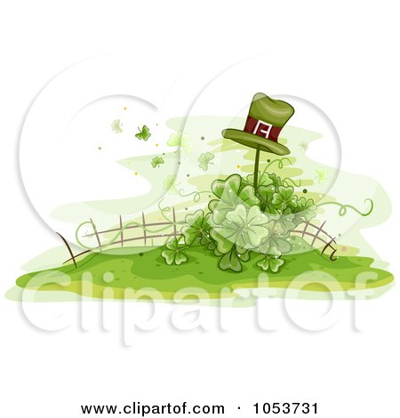 Royalty-Free Vector Clip Art Illustration of a Leprechaun Hat On A Post Over A Shamrock Garden by BNP Design Studio