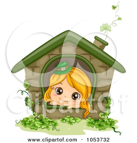 Royalty-Free Vector Clip Art Illustration of a Cute St Patricks Day Girl In A House by BNP Design Studio