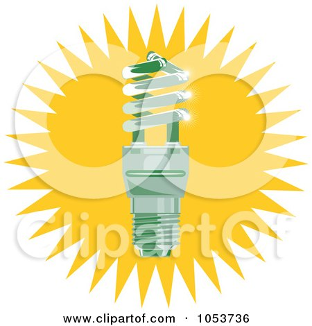 Royalty-Free Vector Clip Art Illustration of a Spiral Fluorescent Lightbulb Over A Burst by patrimonio
