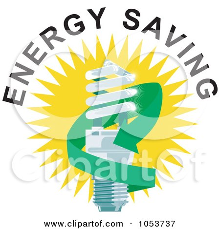 Royalty-Free Vector Clip Art Illustration of a Spiral Fluorescent Lightbulb With Energy Saving Text - 1 by patrimonio