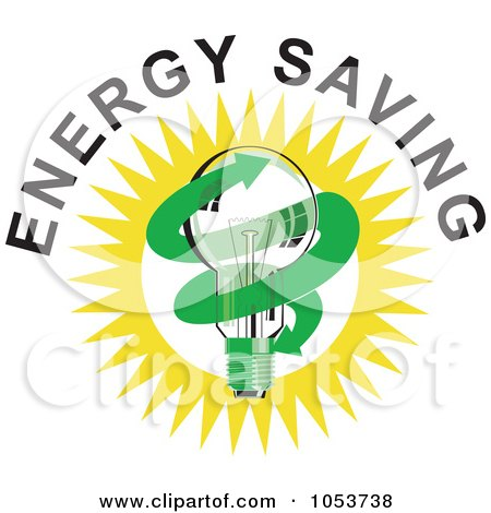Royalty-Free Vector Clip Art Illustration of a Lightbulb With Energy Saving Text - 2 by patrimonio
