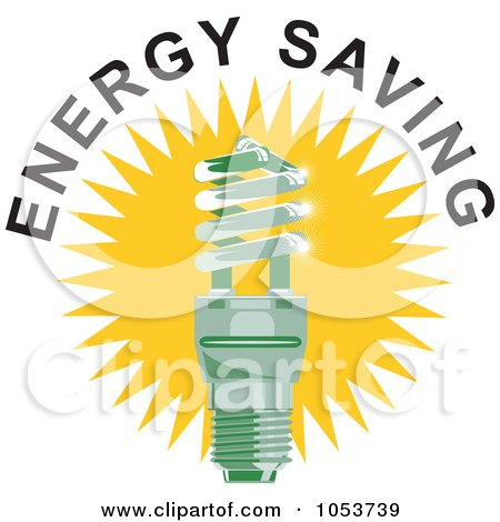 Royalty-Free Vector Clip Art Illustration of a Spiral Fluorescent Lightbulb With Energy Saving Text - 2 by patrimonio