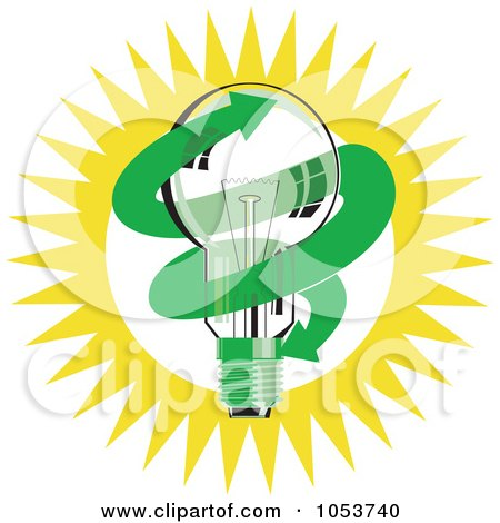 Royalty-Free Vector Clip Art Illustration of a Light Bulb With A Green Arrow Against The Sun by patrimonio