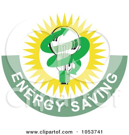 Royalty-Free Vector Clip Art Illustration of a Lightbulb With Energy Saving Text - 1 by patrimonio