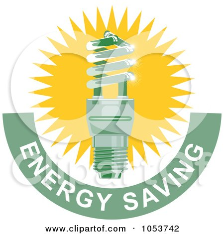 Royalty-Free Vector Clip Art Illustration of a Spiral Fluorescent Lightbulb With Energy Saving Text - 3 by patrimonio