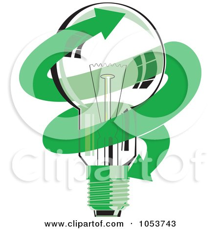 Royalty-Free Vector Clip Art Illustration of a Light Bulb With A Green Arrow by patrimonio