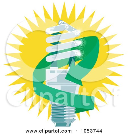Royalty-Free Vector Clip Art Illustration of a Spiral Fluorescent Lightbulb With A Green Arrow by patrimonio