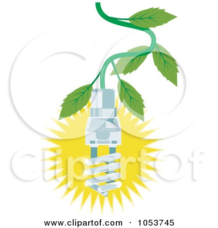 Royalty-Free Vector Clip Art Illustration of a Spiral Fluorescent Lightbulb Hanging From A Tree by patrimonio